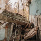 Abandoned houses and ruined city wet  muddy, old Royalty Free Stock Photo