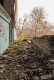 Abandoned houses and ruined city wet  muddy, old Stock Image