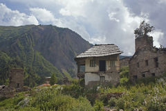 Abandoned houses in Svaneti, Georgia Stock Photo