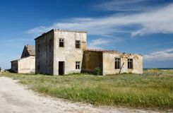 Abandoned houses on wild Tendriv Spit,Ukraine Stock Photos
