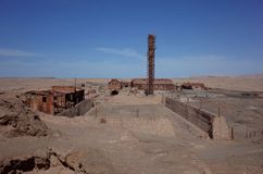 Humberstone Saltpeter Worksm in northern Chile. The abandoned Humberstone saltpeter works. This abandoned nitrate town was extremely important for the early royalty free stock photography