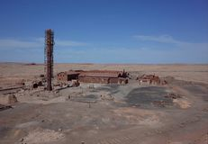 Humberstone Saltpeter Worksm in northern Chile. The abandoned Humberstone saltpeter works. This abandoned nitrate town was extremely important for the early royalty free stock image