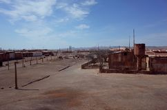 The abandoned Humberstone saltpeter works. A view over the abandoned Humberstone saltpeter works. This abandoned nitrate town was extremely important for the stock image