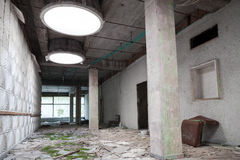 Abandoned industrial building interior, old room Stock Photo