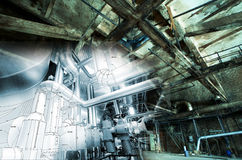 Abandoned industrial building under construction concept stock images