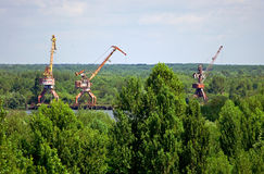 Abandoned industrial cranes in Chernobyl Zone Stock Photography