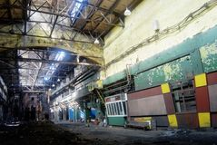 Abandoned industrial dirty workshop Royalty Free Stock Photo