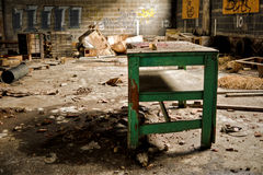 Abandoned Industrial Factory Warehouse Table royalty free stock photography