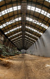 Abandoned industrial interior with bright light. And some plants Royalty Free Stock Images