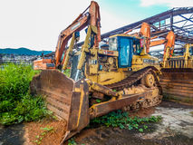 Abandoned industry of Liberia. The consequences of the Ebola epidemic and the civil war. Monrovia, Liberia - July 07, 2015: Abandoned iron ore mine and destroyed Stock Photography