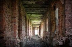 Abandoned interior with dark corridor Stock Photo