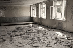 Abandoned interior in ruins of military settlement. City of Skru Royalty Free Stock Image