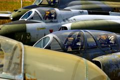 Abandoned jet fighters. Abandoned jet fighter planes stock photography
