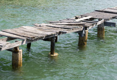 Abandoned jetty. At high tide in Thailand Royalty Free Stock Photos