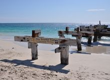 Abandoned Jetty Angle Perspective: Jurien Bay, Western Australia. Abandoned Jetty length perspective on the Indian Ocean coastline in Jurien Bay, Western Royalty Free Stock Photo