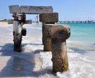 Abandoned Jetty: Old Versus Modern, Western Australia. Abandoned Jetty section, modern jetty in the background, on the Indian Ocean coastline in Jurien Bay Stock Image