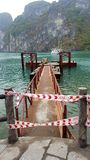 Abandoned jetty. Unsafe dock in halong bay Royalty Free Stock Photos