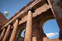 Abandoned landmark: old military quarters Royalty Free Stock Photo