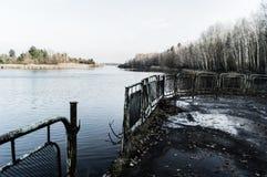 Abandoned landsatte hamnen Arkivbild