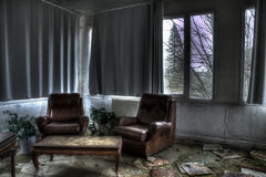 Abandoned leather lounge. At the hostel Royalty Free Stock Image