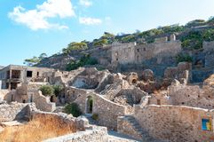 Abandoned leper colony. Spinalonga Fortress, Crete Greece Stock Images