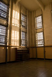 Abandoned Library at Alcatraz. Late afternoon sun falls across the prison library at Alcatraz where Robert Stroud (The Bird Man of Alcatraz) spent many hours stock image