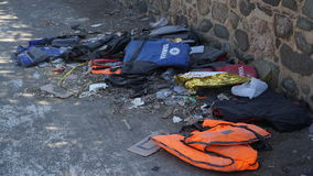 Abandoned life jackets Royalty Free Stock Image