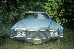 An abandoned light blue classic car in Wisconsin Royalty Free Stock Images