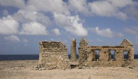 Abandoned lighthouse at Malmok, Bonaire netherlands antilles. North shore royalty free stock images