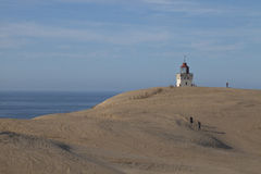 Abandoned Lighthouse. An abandoned lighthouse is slowly being drowned in sand at Rubjerg in Denmark. At Rubjerg is a  small desert  on the coast which is often Stock Images