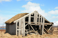 Abandoned  Lofoten's hay shack Royalty Free Stock Photo