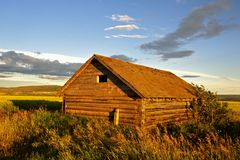 Abandoned log barn at sunset Stock Photo