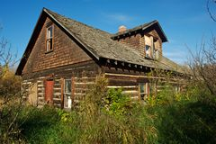 Abandoned log house in bushes and grass Royalty Free Stock Photos