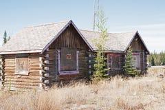 Log Buildings Northway Junction Alaska. Abandoned log lodge buildings at Northway Junction, Alaska on the Alaska Highway stock photos