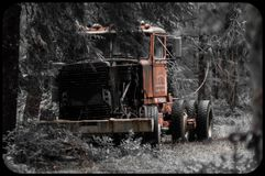 Abandoned Logging Truck in Oregon Woods Stock Image