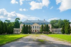 Abandoned mansion. Holy Palace Volovichi, castle in Svyatskoye. a beautiful old architectural structure, a stone or marble stock photo