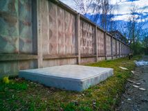 Abandoned mattress in industrial territory royalty free stock photos