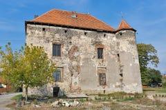 Abandoned medieval castle Saint Miklosh, Chinadievo, Western Ukraine. Stock Image
