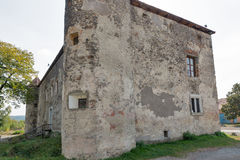 Abandoned medieval castle Saint Miklosh, Chinadievo, Western Ukraine. Stock Photo