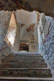 Abandoned medieval castle Saint Miklosh interior, Chinadievo, Western Ukraine. Stock Photography