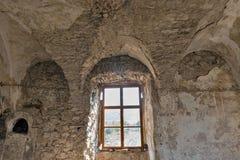 Abandoned medieval castle Saint Miklosh interior, Chinadievo, Western Ukraine. Royalty Free Stock Photo