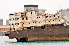 Abandoned Metal Rusty  Ship Stock Photo