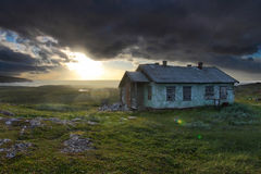 Abandoned meteorological station. Abandoned building on Murmansk coast. Kola peninsula, Murmansk region, Russia Stock Image