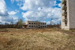 abandoned military buildings in city of Skrunda in Latvia royalty free stock photos
