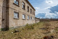 abandoned military buildings in city of Skrunda in Latvia stock images