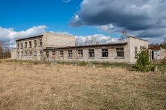 abandoned military buildings in city of Skrunda in Latvia stock photography