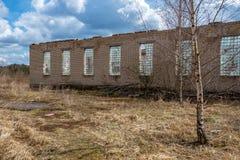 abandoned military buildings in city of Skrunda in Latvia stock photo