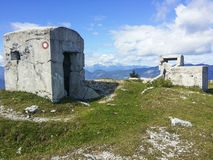 Abandoned military bunker in mountains Royalty Free Stock Photo