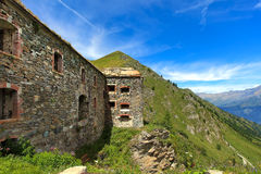 Abandoned military fortress in the mountains. Royalty Free Stock Photos