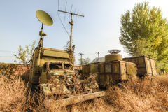 Abandoned military vehicles. Military vehicles abandoned, was used to perform liaison and reconnaissance mission stock photo